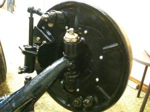 Nearside hub and brake cylinder